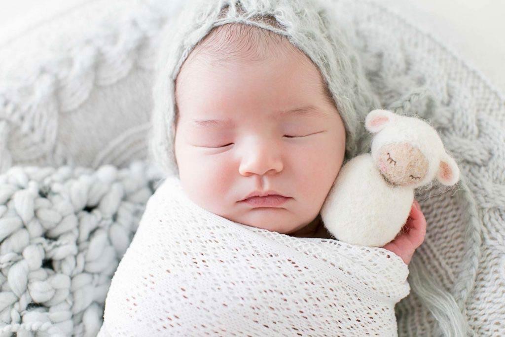 photographie nouveau-né garçon avec peluche